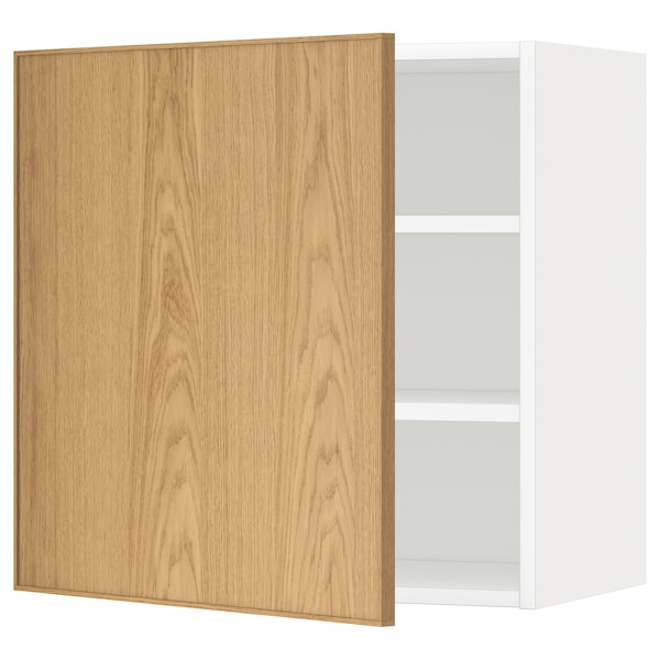 METOD Wall cabinet with shelves, white/Ekestad oak, 60x60 cm