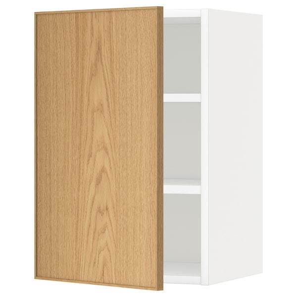 METOD Wall cabinet with shelves, white/Ekestad oak, 40x60 cm