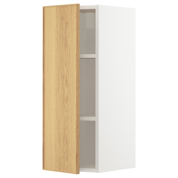METOD Wall cabinet with shelves, white/Ekestad oak, 30x80 cm