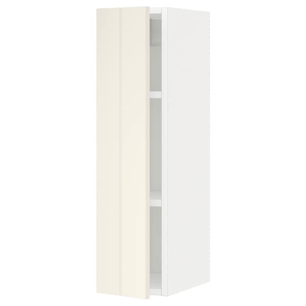 METOD Wall cabinet with shelves, white/Hittarp off-white, 20x80 cm