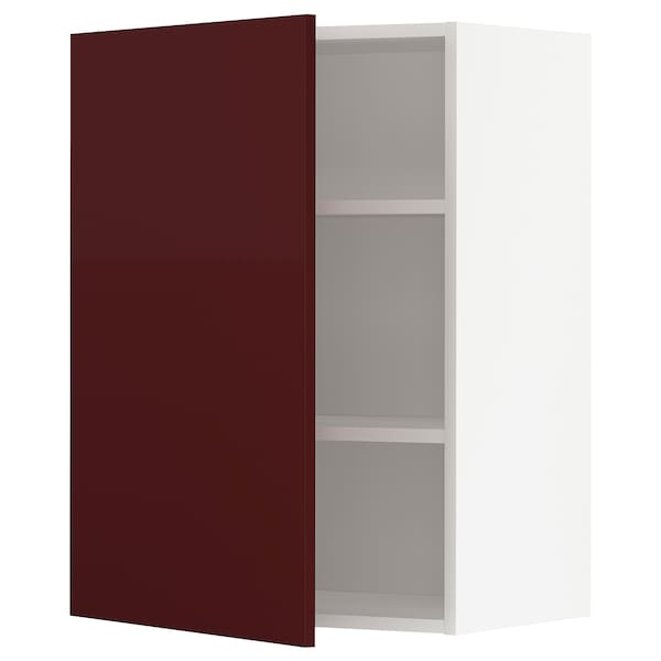 METOD Wall cabinet with shelves, white Kallarp/high-gloss dark red-brown, 60x80 cm