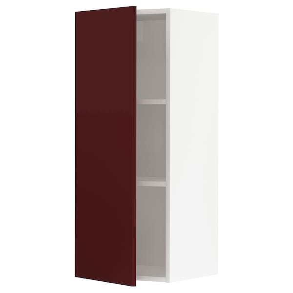 METOD Wall cabinet with shelves, white Kallarp/high-gloss dark red-brown, 40x100 cm