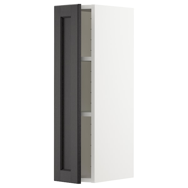 METOD Wall cabinet with shelves, white/Lerhyttan black stained, 20x80 cm