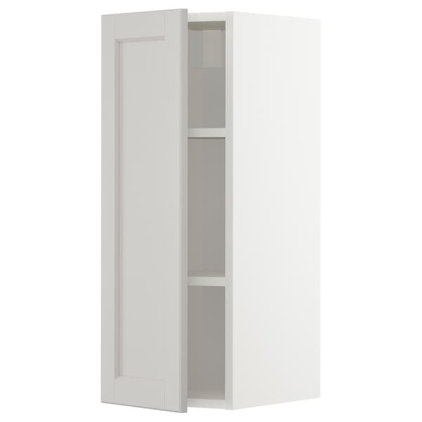 METOD Wall cabinet with shelves, white/Lerhyttan light grey, 30x80 cm
