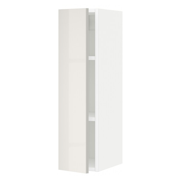METOD Wall cabinet with shelves, white/Ringhult light grey, 20x80 cm