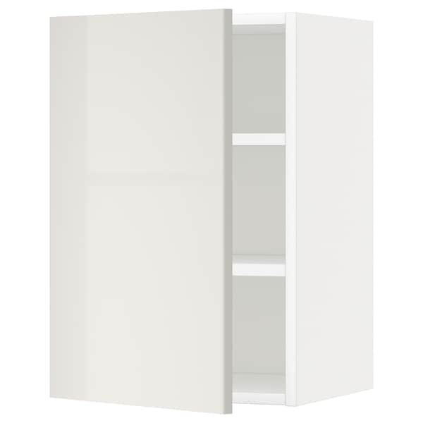METOD Wall cabinet with shelves, white/Ringhult light grey, 40x60 cm
