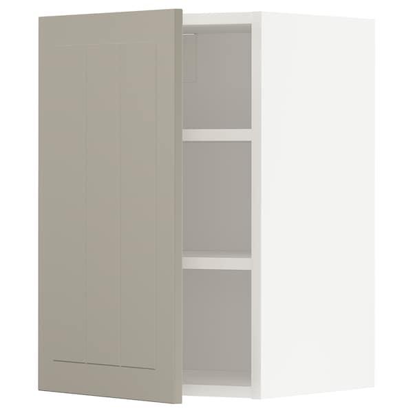 METOD Wall cabinet with shelves, white/Stensund beige, 40x60 cm
