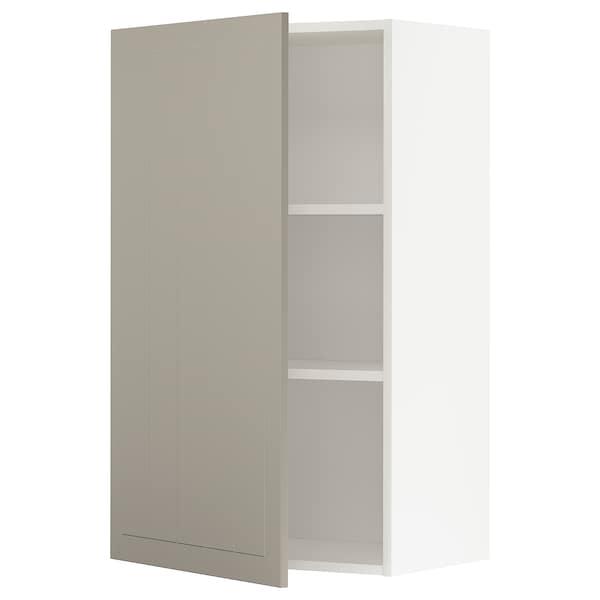 METOD Wall cabinet with shelves, white/Stensund beige, 60x100 cm