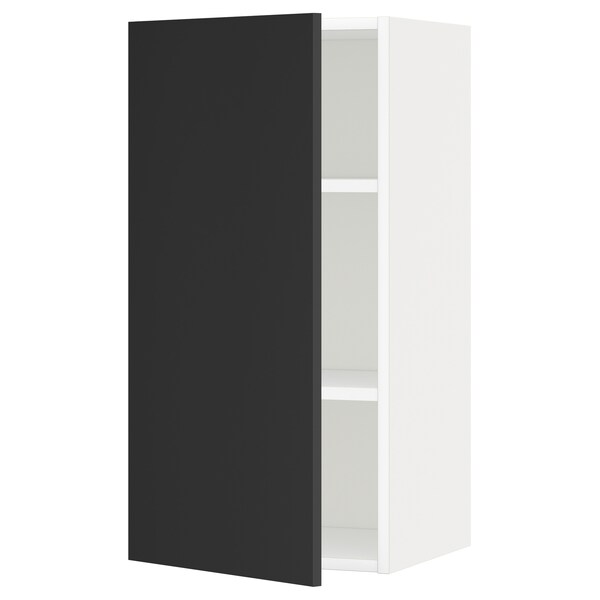 METOD Wall cabinet with shelves, white/Uddevalla anthracite, 40x80 cm