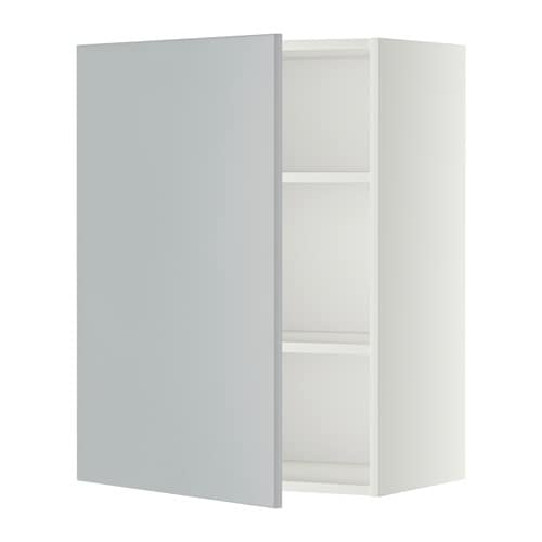 Metod wall cabinet with shelves white veddinge grey 60x80 for Grey kitchen wall units