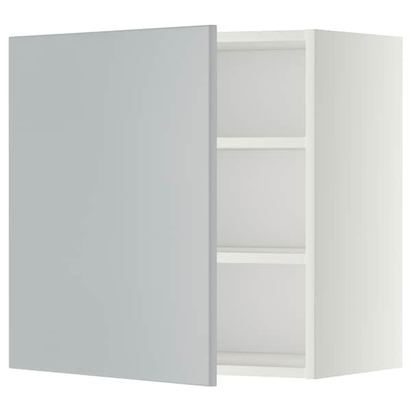 METOD Wall cabinet with shelves, white/Veddinge grey, 60x60 cm