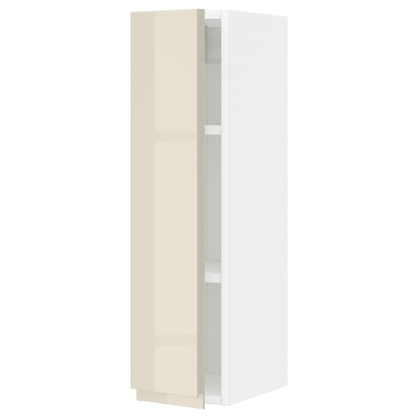 METOD Wall cabinet with shelves, white/Voxtorp high-gloss light beige, 20x80 cm