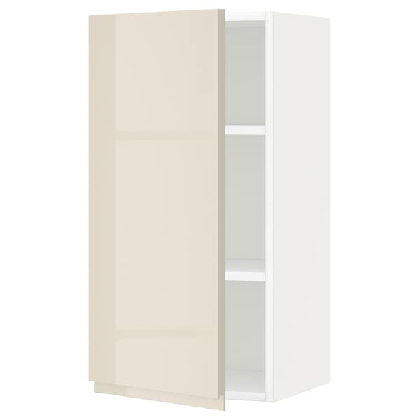 METOD Wall cabinet with shelves, white/Voxtorp high-gloss light beige, 40x80 cm