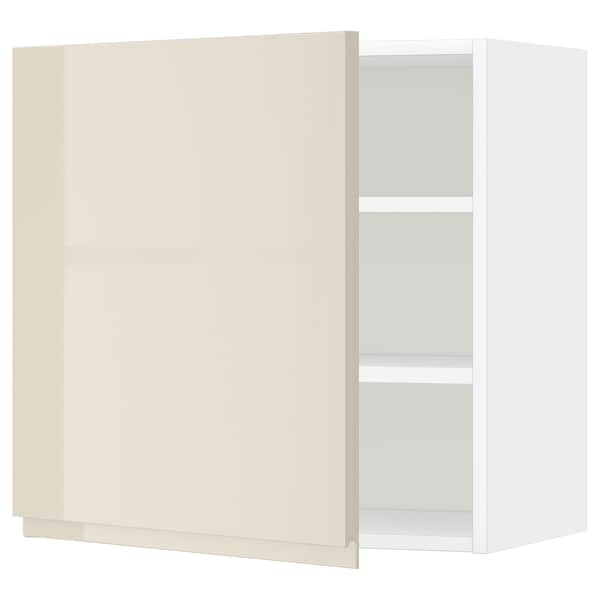 METOD Wall cabinet with shelves, white/Voxtorp high-gloss light beige, 60x60 cm