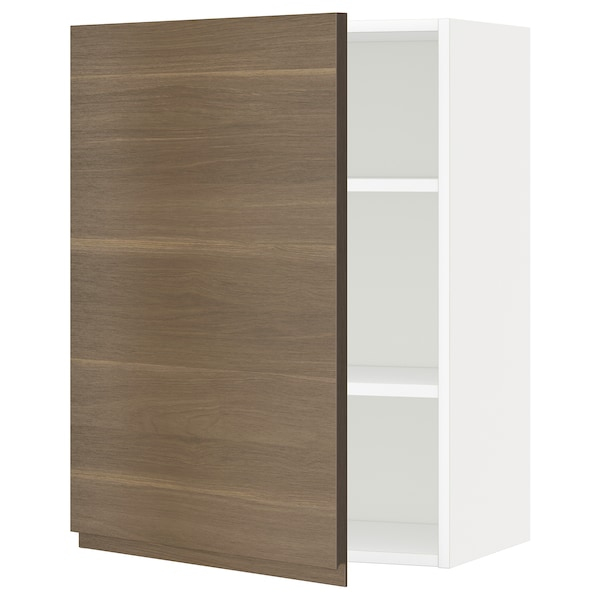 METOD Wall cabinet with shelves, white/Voxtorp walnut effect, 60x80 cm