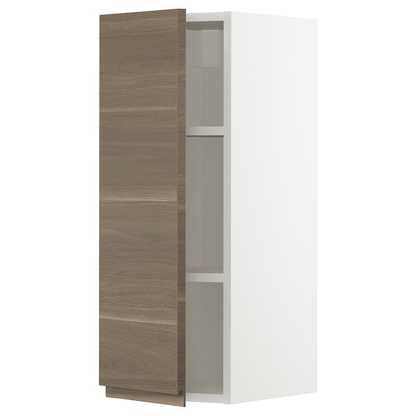METOD Wall cabinet with shelves, white/Voxtorp walnut effect, 30x80 cm