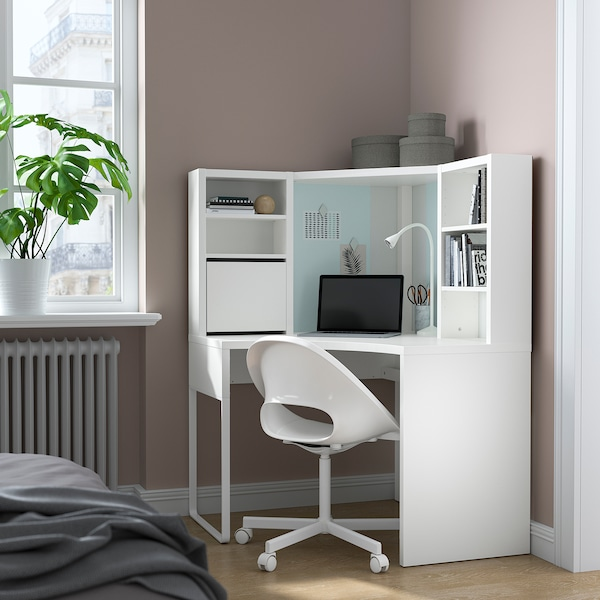 MICKE Corner workstation, white, 100x142 cm