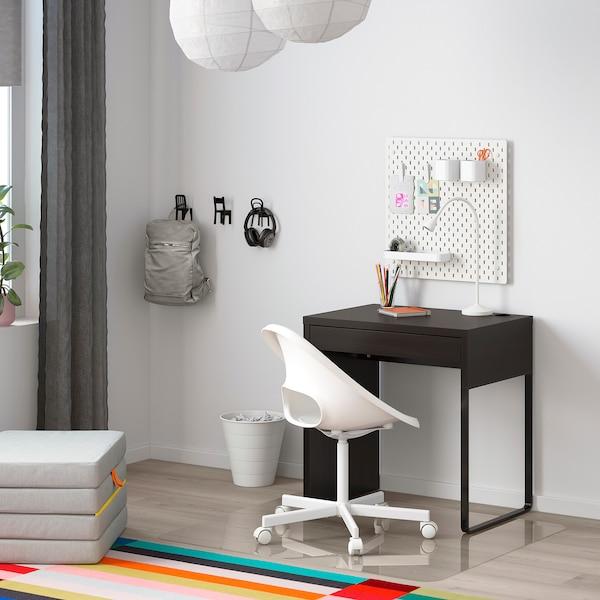 MICKE Desk, black-brown, 73x50 cm