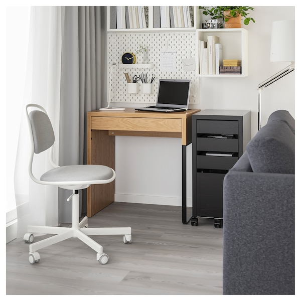 MICKE Desk, oak effect, 73x50 cm