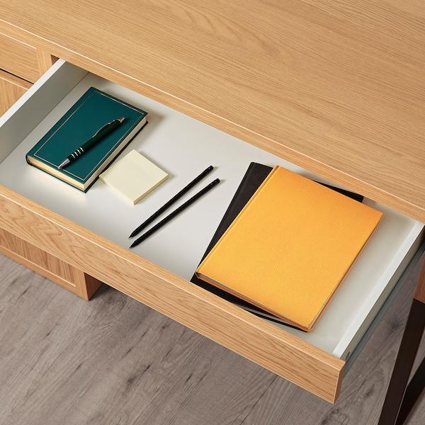 MICKE Desk, oak effect, 105x50 cm