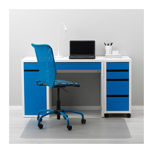 Micke desk white blue 105x50 cm ikea for Bureau blanc ikea