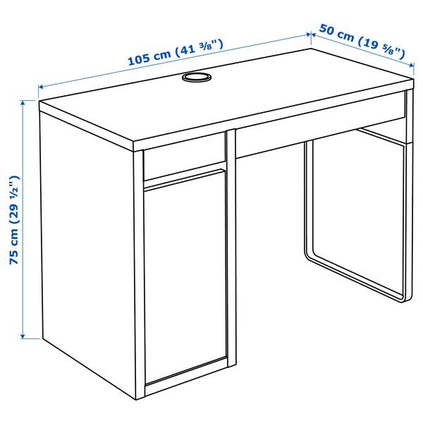 MICKE Desk, white/anthracite, 105x50 cm