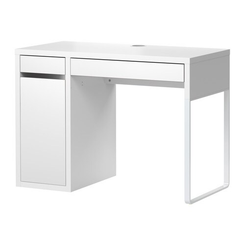 IKEA MICKE desk Drawer stops prevent the drawers from being pulled out too far.