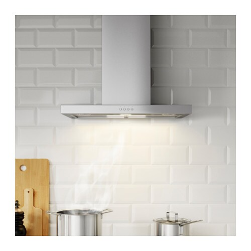 IKEA MOLNIGT wall mounted extractor hood Control panel placed at front for easy access and use.