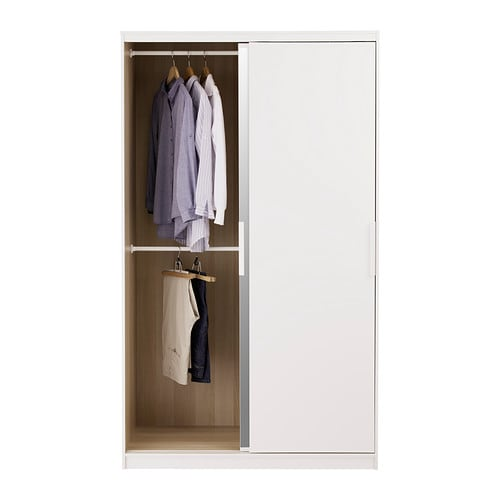 Morvik wardrobe white mirror glass 120x205 cm ikea - Ikea armoire with mirror ...