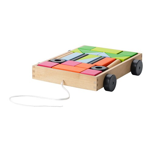 IKEA MULA 24 building blocks with wagon Develops fine motor skills and logical thinking.