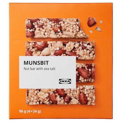 MUNSBIT Nut bar, with sea salt, 96 gx4 pieces