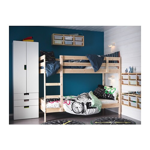 IKEA MYDAL bunk bed frame The ladder mounts on the right or the left side of the bed.