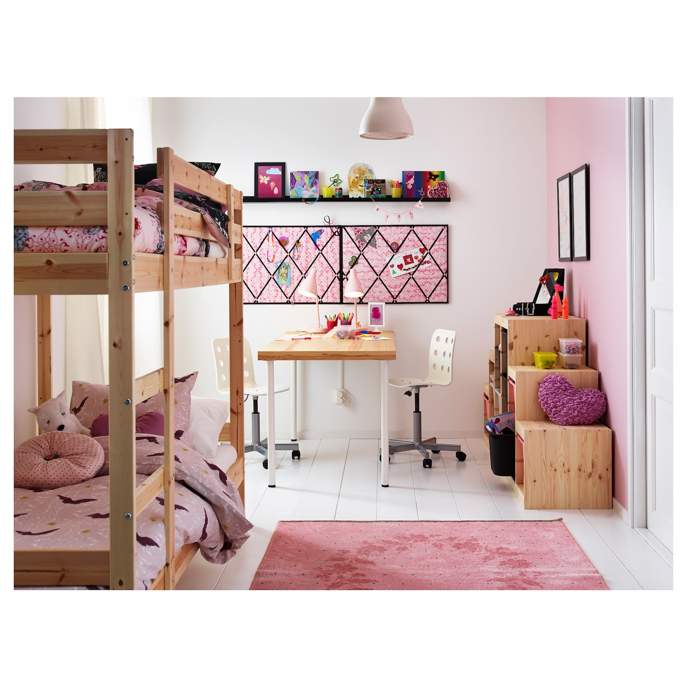 IKEA MYDAL bunk bed frame Made of solid wood, which is a hardwearing and warm natural material.
