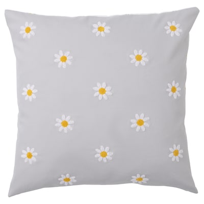 NATTSLÄNDA Cushion cover, floral pattern grey/white, 50x50 cm