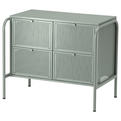 NIKKEBY Chest of 4 drawers, grey-green, 84x70 cm