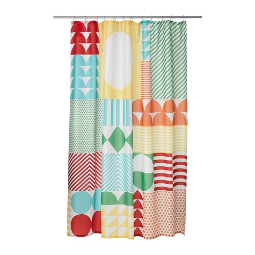 IKEA NIMMERN shower curtain Densely-woven polyester fabric with water-repellent coating.
