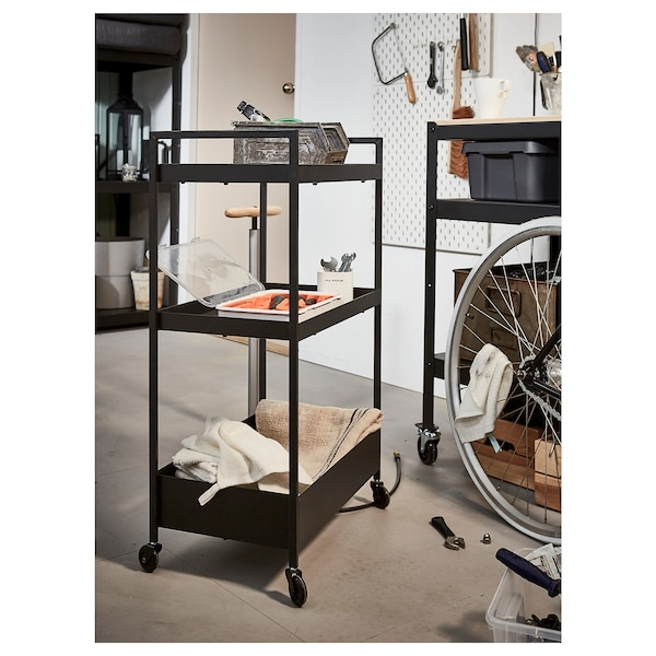 NISSAFORS Trolley, black, 50.5x30x83 cm