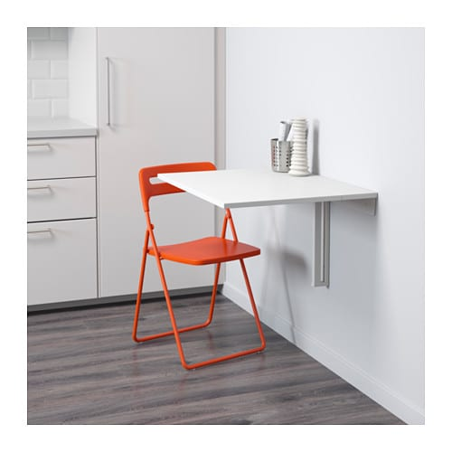 Nisse norberg table and 1 chair white orange 74 cm ikea for Table up and down ikea