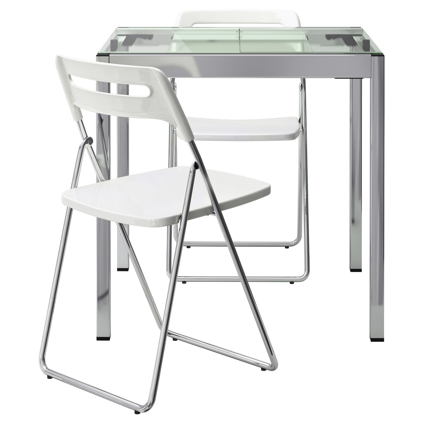 IKEA NISSE/GLIVARP table and 2 chairs It is easy for one person alone to extend the table.