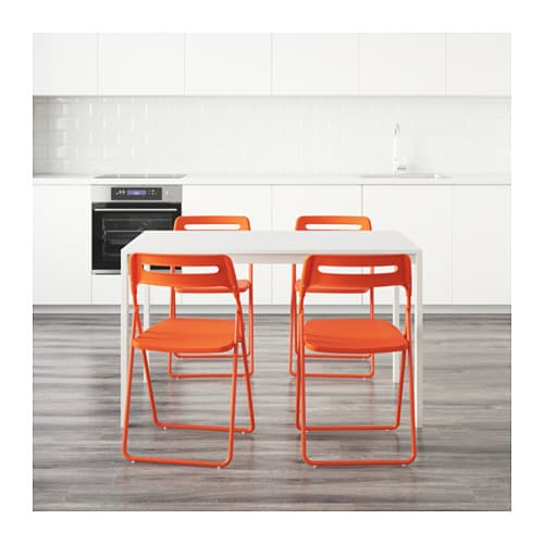 NISSE MELLTORP Table And 4 Chairs White Orange 125 Cm IKEA