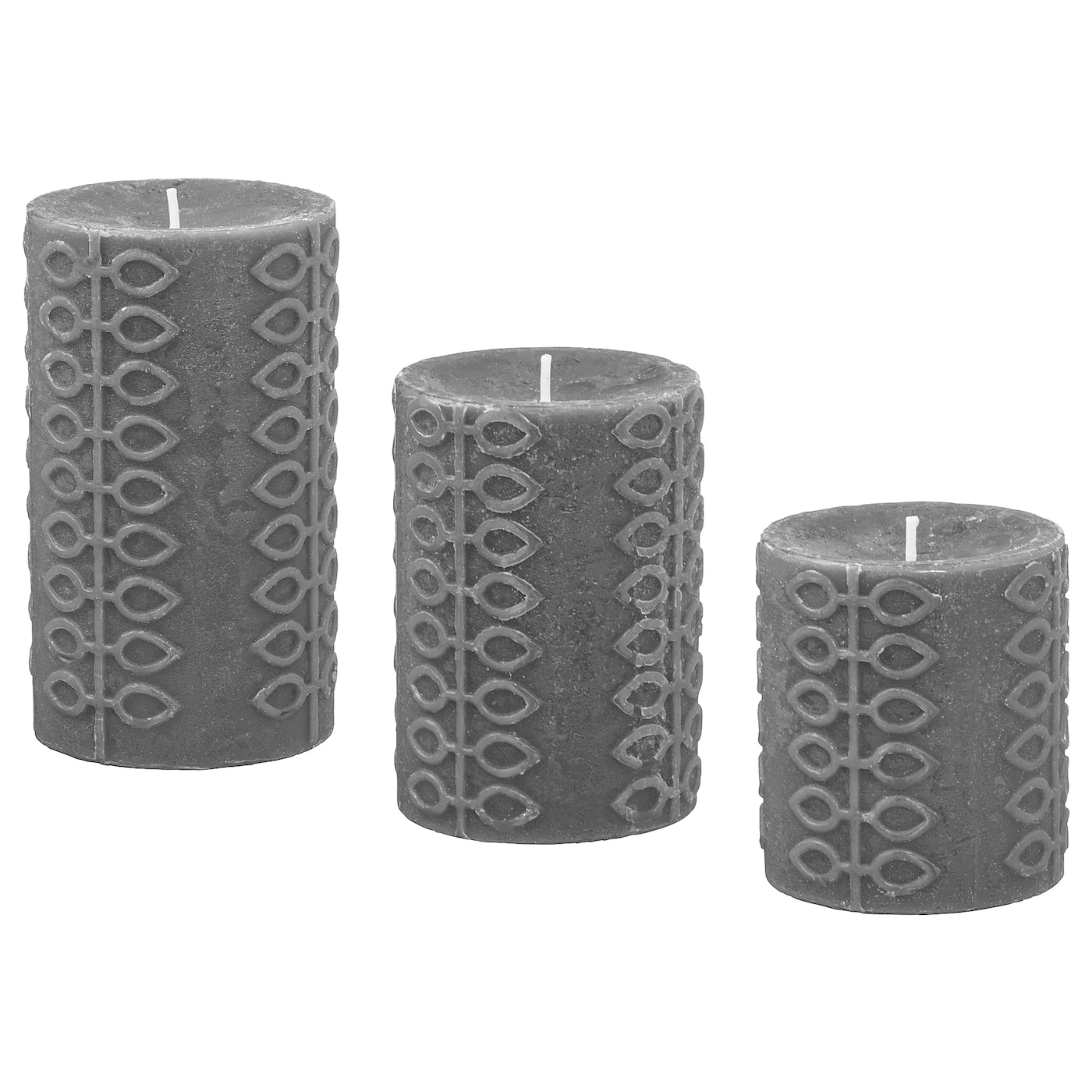 IKEA NJUTNING scented block candle, set of 3 A spicy scent of bergamot and tea with warm milk.