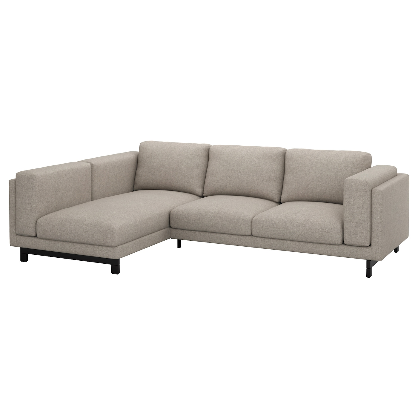 IKEA NOCKEBY 3-seat sofa Heavy, hard-wearing fabric with structure, yarn dyed in different shades.