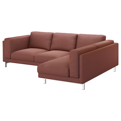 NOCKEBY 3-seat sofa, with chaise longue, right/Tallmyra rust/chrome-plated