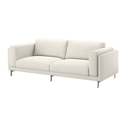 NOCKEBY Three seat Sofa Tallmyra Light Beigechrome plated