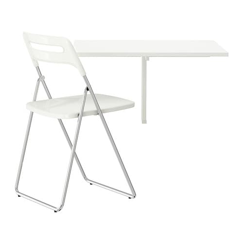 IKEA NORBERG/NISSE table and 1 chair Becomes a practical shelf for small things when folded down.
