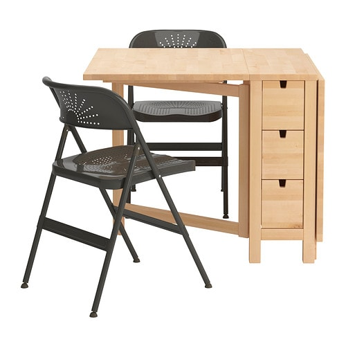 IKEA NORDEN/FRODE table and 2 chairs Solid wood is a hardwearing natural material.