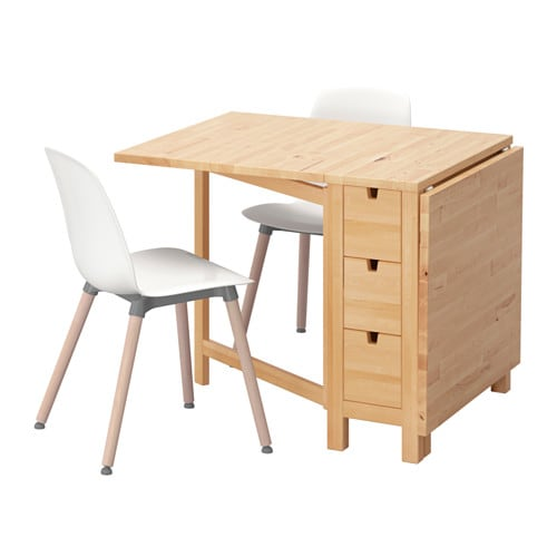 IKEA NORDEN/LEIFARNE table and 2 chairs Solid wood is a hardwearing natural material.