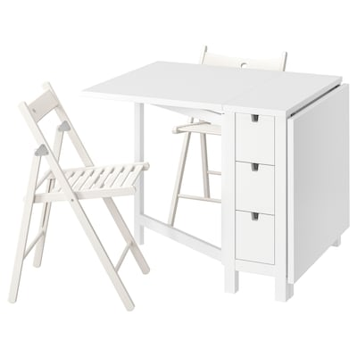 NORDEN / TERJE Table and 2 folding chairs, white/white, 26/89/152 cm