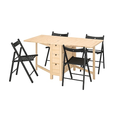 NORDEN / TERJE Table and 4 chairs, foldable birch/black, 26/89/152 cm
