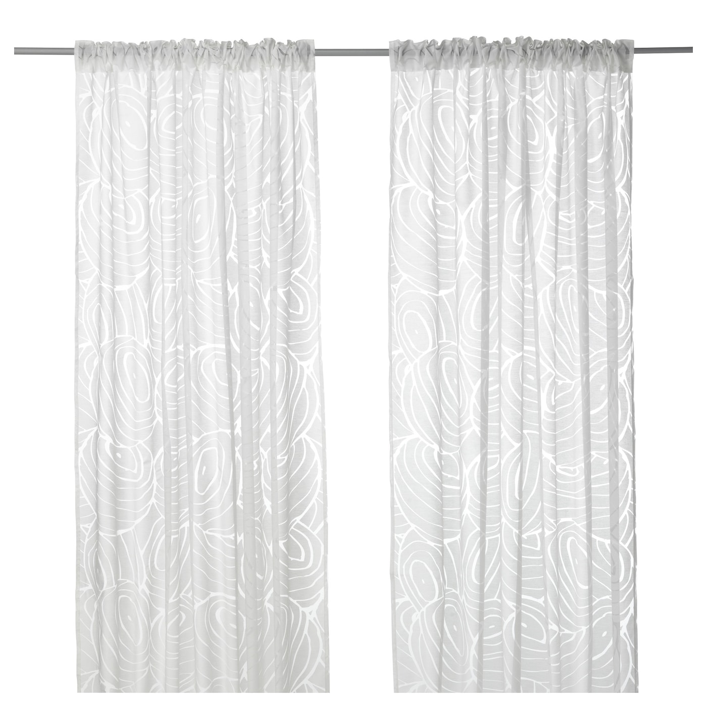 IKEA NORDIS sheer curtains, 1 pair The curtains can be used on a curtain rod or a curtain track.